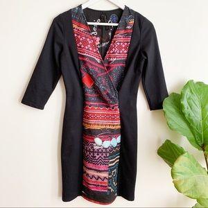Desigual Black Color Print 3/4 Sleeve Dress S